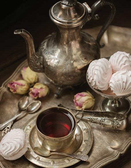 high tea service with silverware
