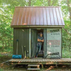 Jakob Jenkins in his off-the-grid home